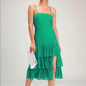 Green Polka Dot Ruffled Midi Dress